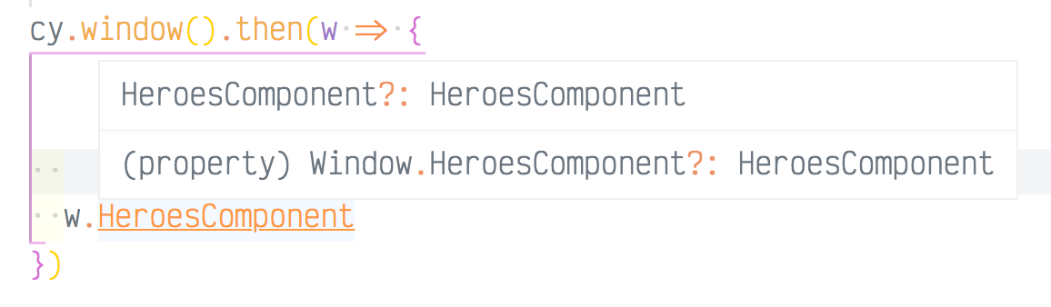 IntelliSense shows the new HeroComponent property exists