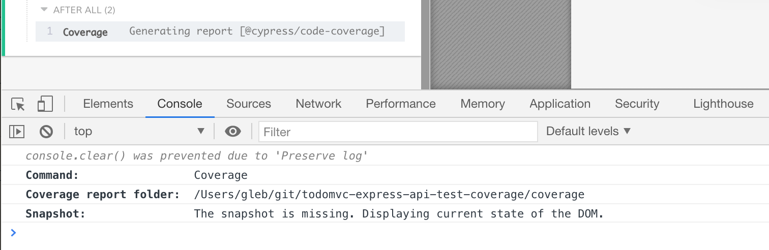 The output code coverage report folder