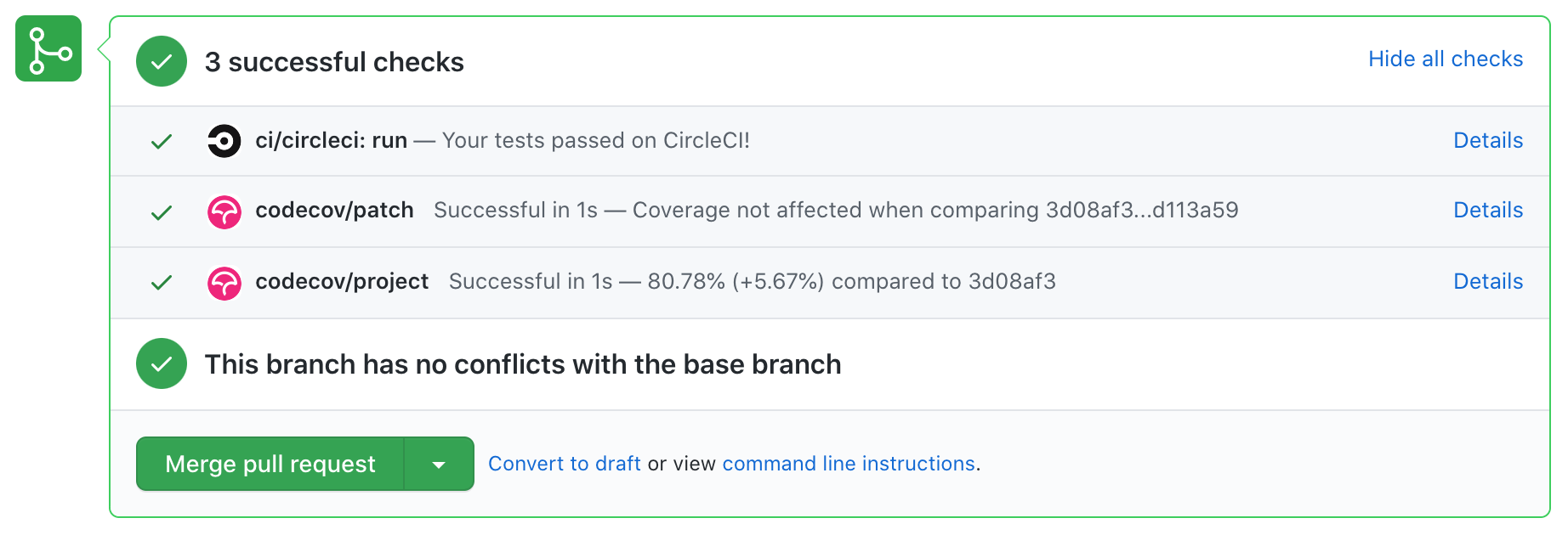 CI and code coverage status checks