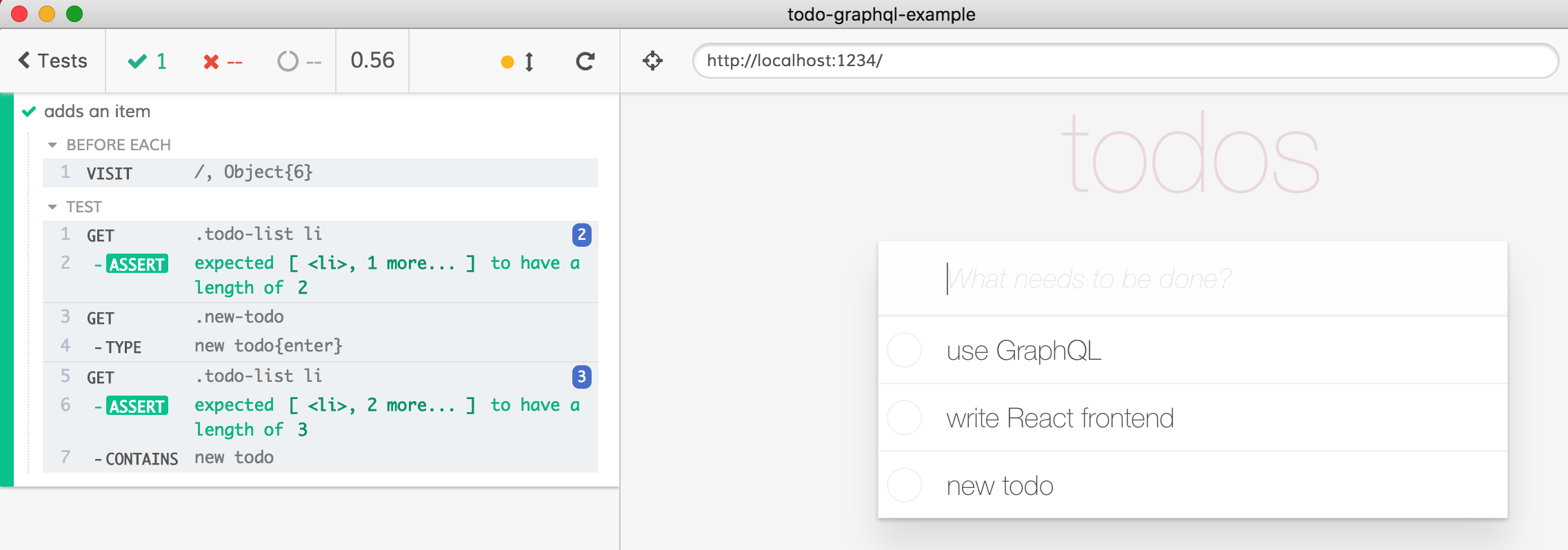 Adding todo test using in-browser server