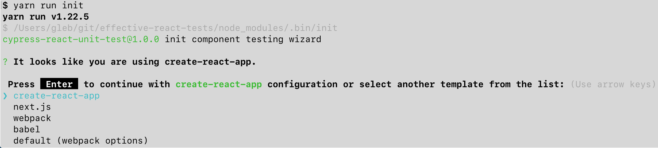 The init wizard determines how React app is bundled