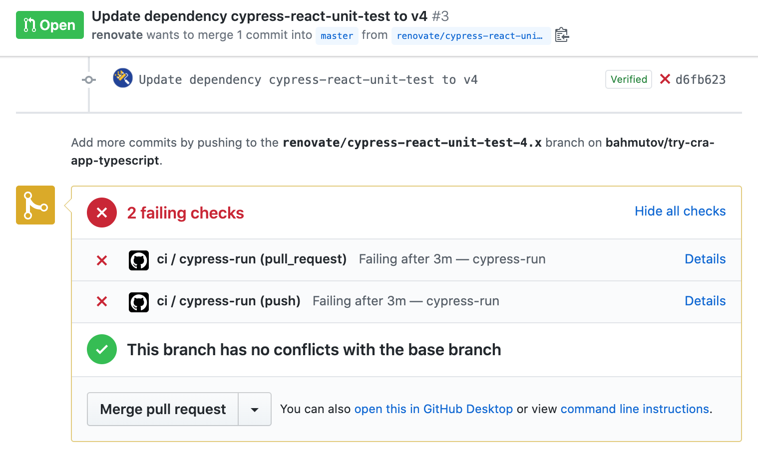 Failed pull request to update cypress-react-unit-test