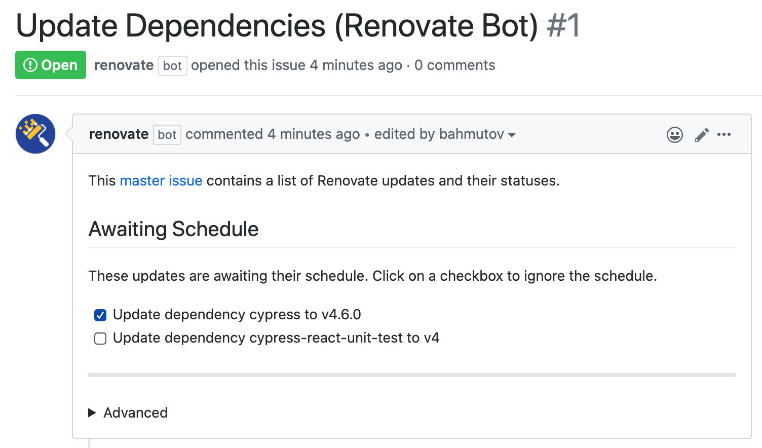 Click checkbox next to the dependency to update