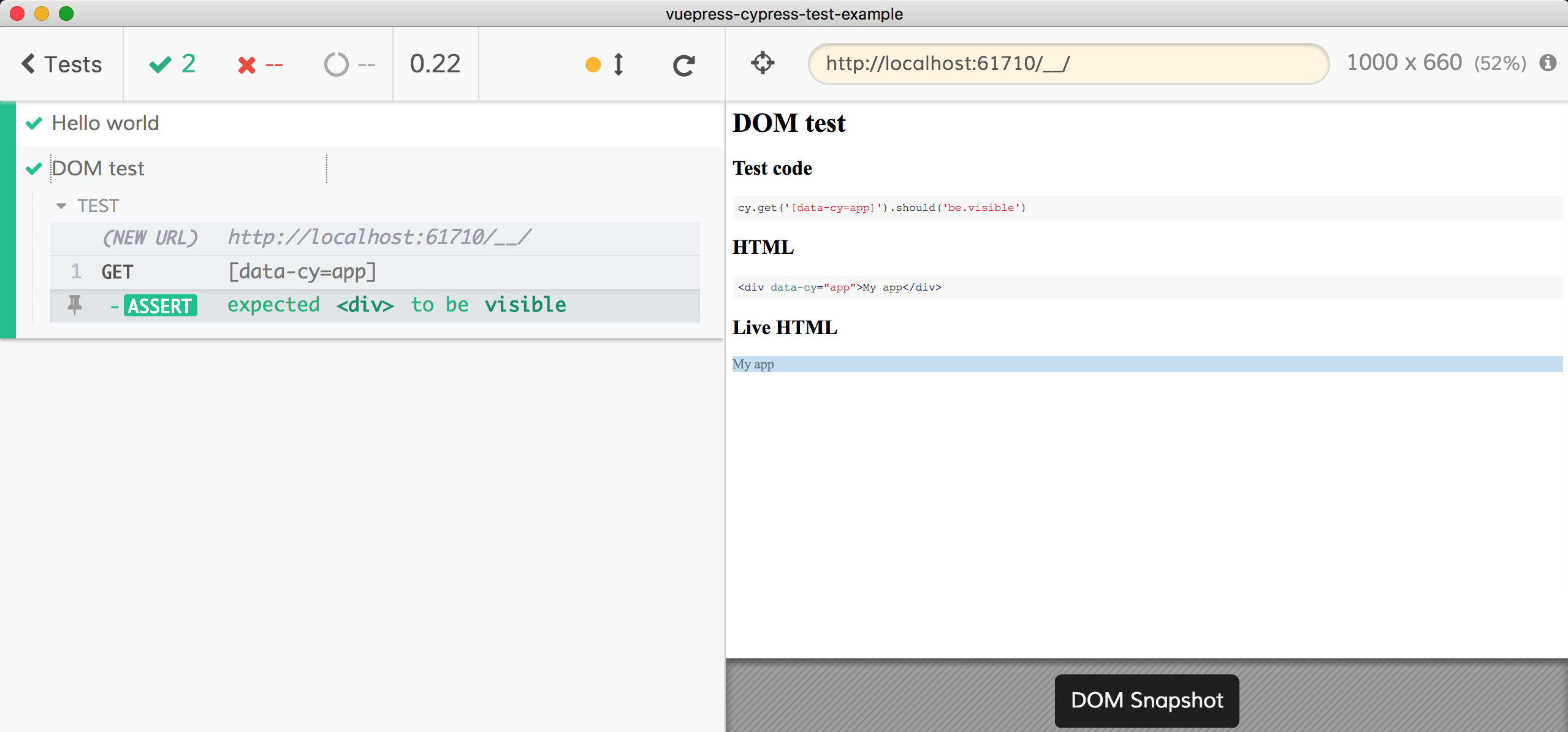 Dom test generated from README.md section