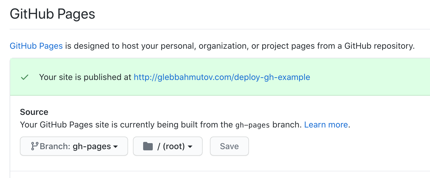 Enable GitHub Pages before you can see the site