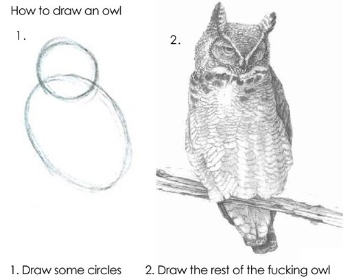 How to draw an owl: simplified version
