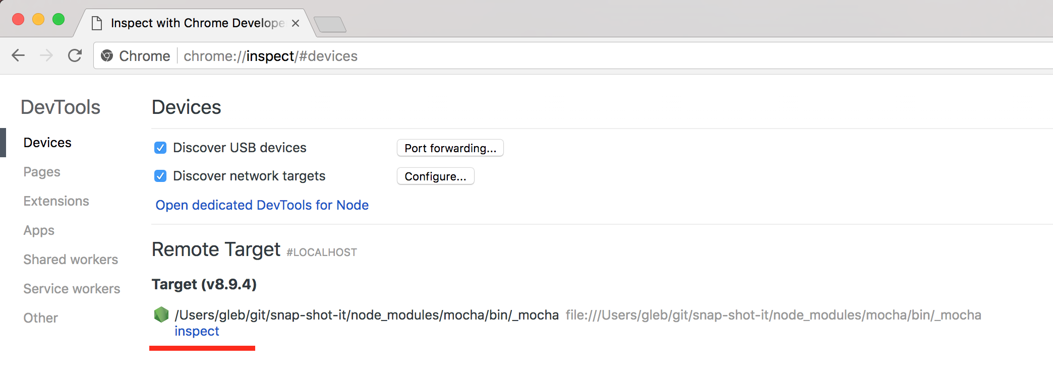 Debugging Mocha from Node using Chrome Inspector | Better