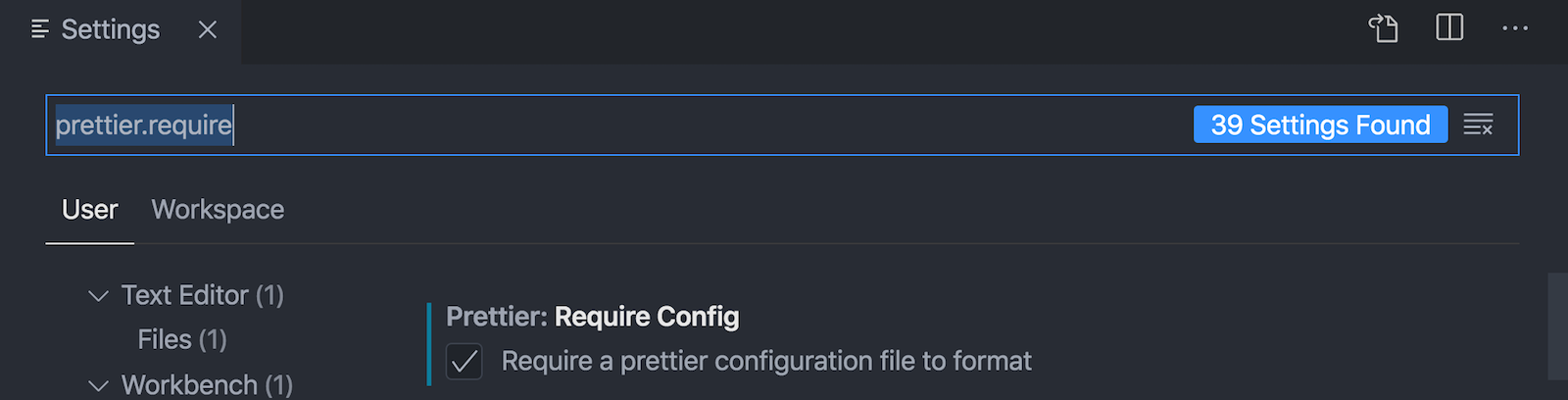User global setting to require configuration file