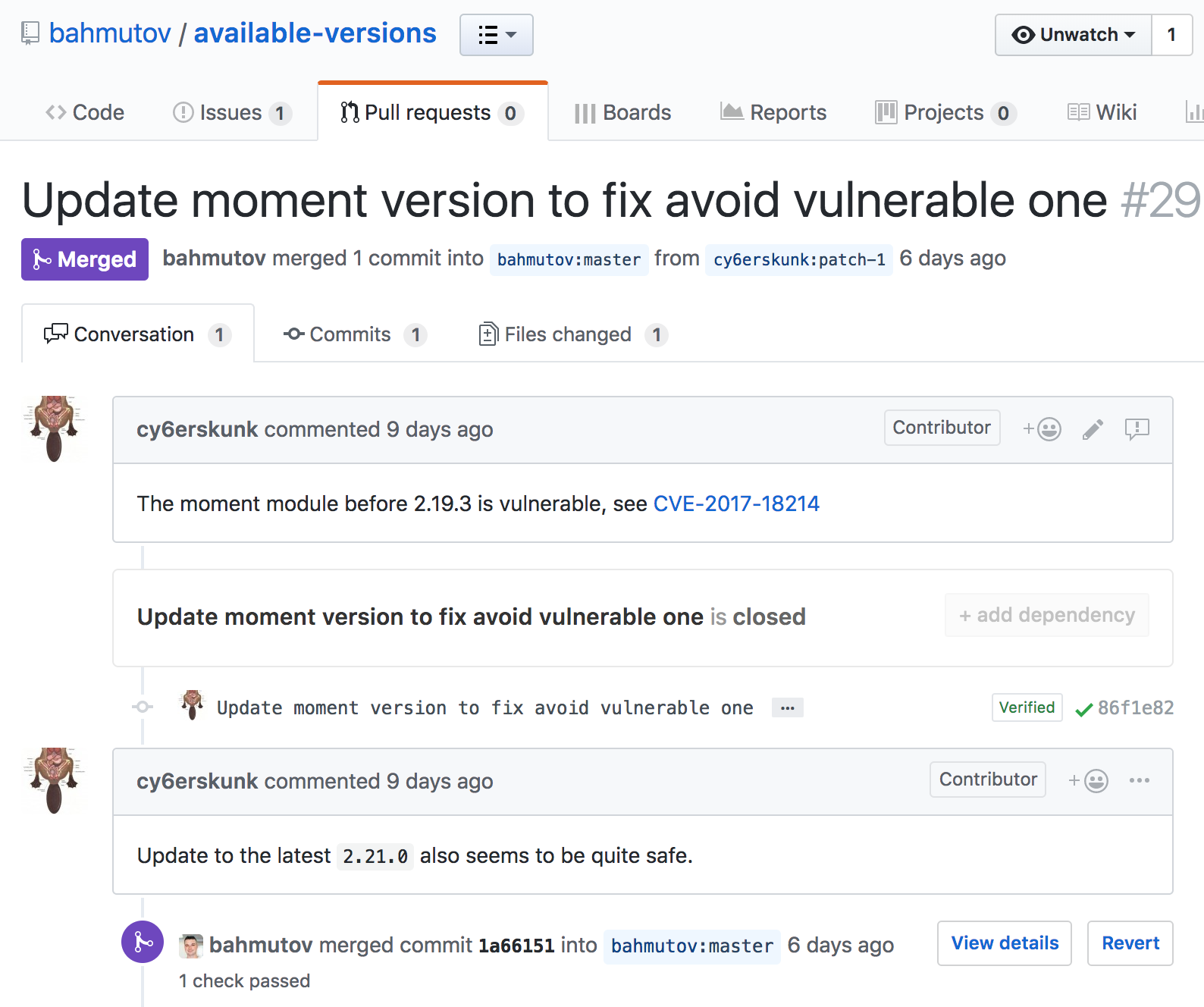 Pull request to update a vulnerable dependency