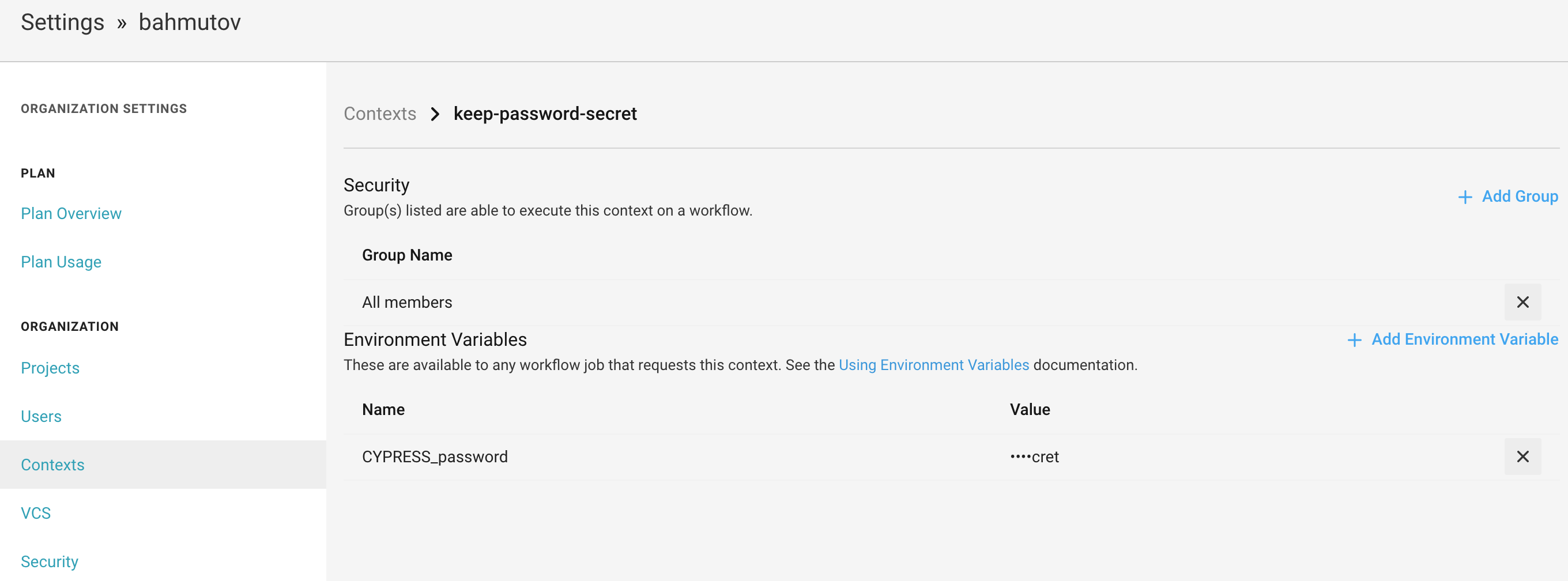 Created security context with the password environment variable
