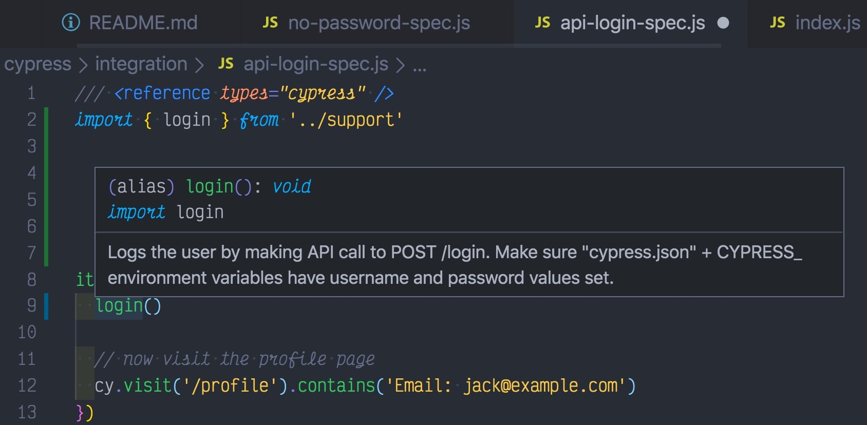 Hovering over `login` shows JSDoc comments
