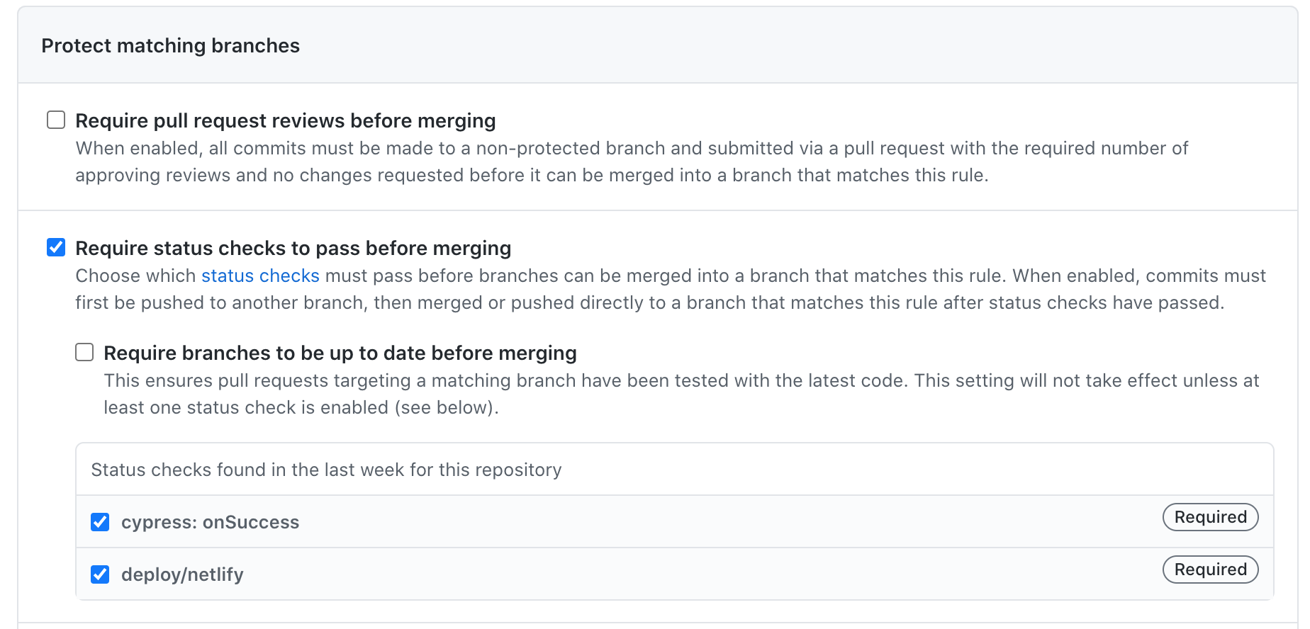 Require successful deploy and passing tests for pull requests