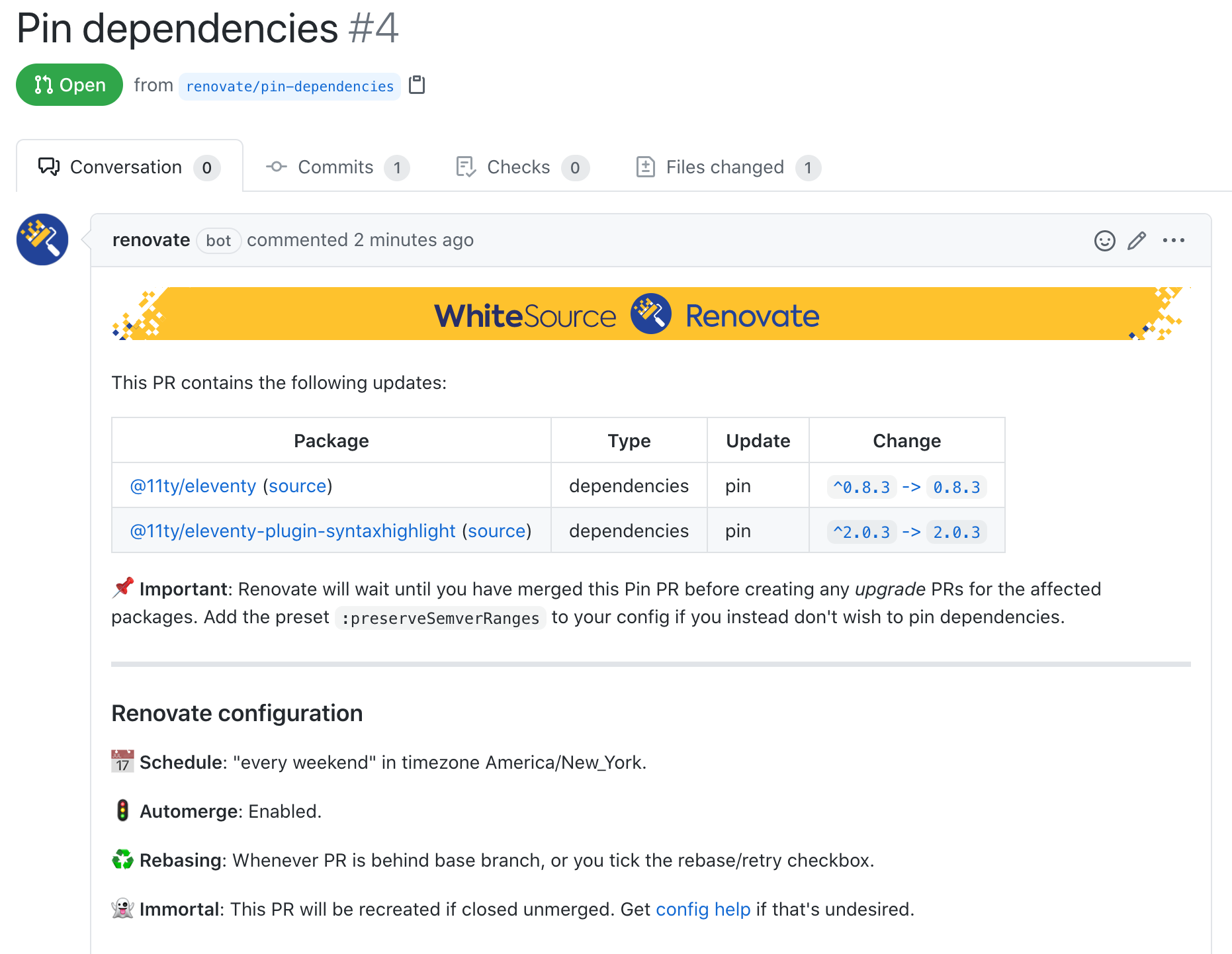 RenovateApp opens a pull request to pin dependencies