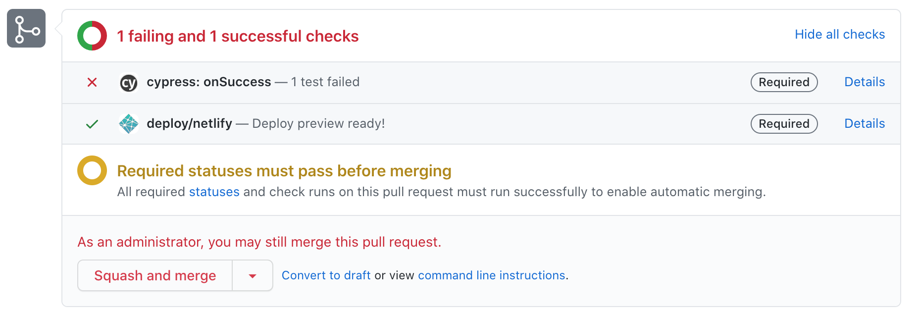 Pull request with failing tests cannot be merged