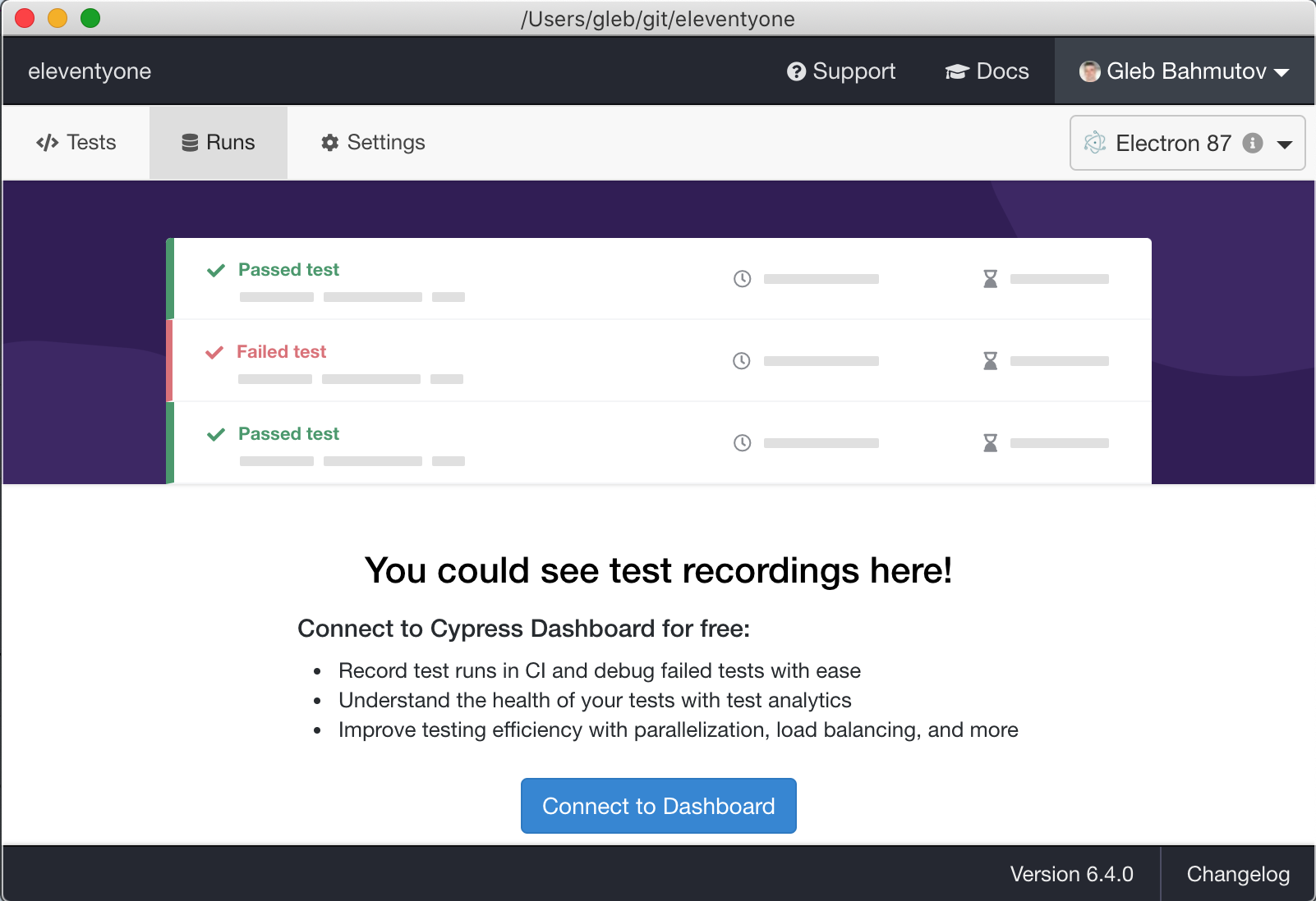 "Click ""Connect to Dashboard"" button to set up project recording"