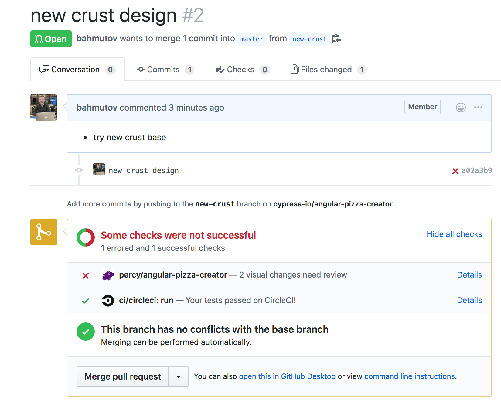 Functional tests and visual diff status for pull request