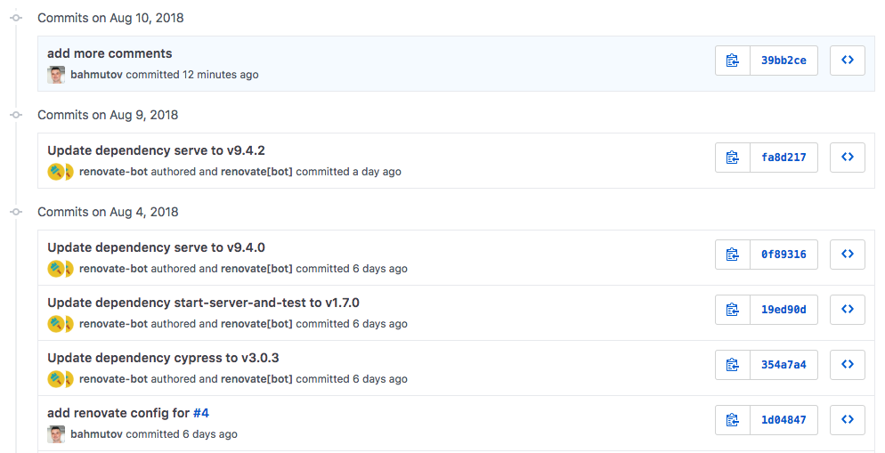 Commits automatically merged by Renovate after tests passed