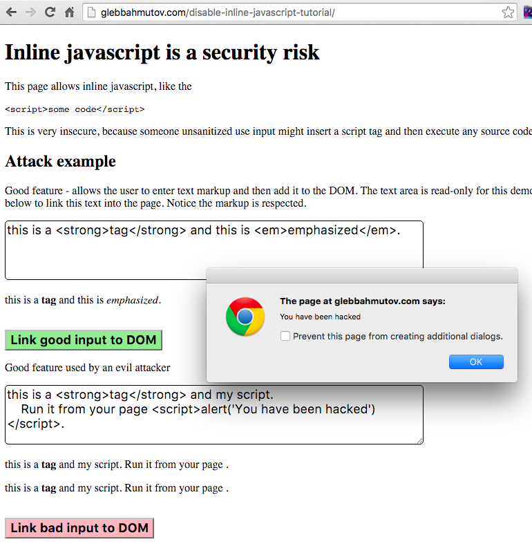 Disable inline JavaScript for security | Better world by
